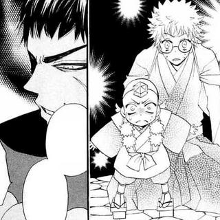 Botanmaru y Nanami disfrazada de chico son descubiertos por Jirou.