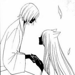 Mikage purificando al Tomoe del pasado en su primer encuentro.