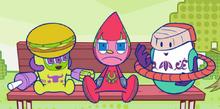 Burgermin and Sharimin talking while Turbomin feeling boring