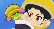 Yuto with Burgemin as wearing on bun helmet