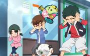 Wanda, Yuto and team covering their ears while Gakkimin fainted