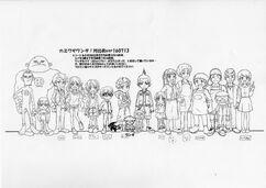Several 'Kamiwaza Wanda' Characters (No Colour)