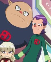 Terara, Megaga and Gigaga behind of the wall