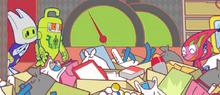 Tonkamin and Kagimin shocked by Turbomin's messy room