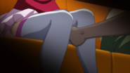 Shizuku feet extend between Natsuru (Female)'s legs