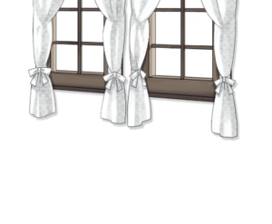 Small window with white curtain