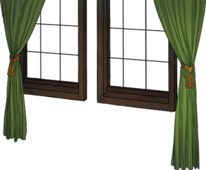 Window with green curtain