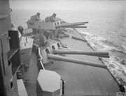 16 inch gun turrets and Unrotated Projectile launchers on HMS Nelson 1940 IWM A 1994
