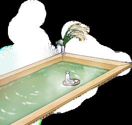 Hinoki wood hot spring bath