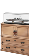 「Mogami」ship model and paulownia cabinet