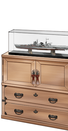 「Mogami」ship model and paulownia cabinet