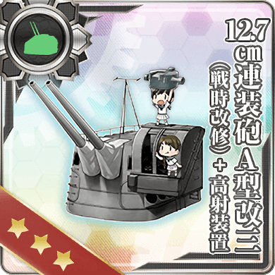 12.7cm Twin Gun Mount Model A Kai 3 (Wartime Modification) + Anti-Aircraft Fire Director 295 Card