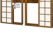 Window with Teru teru bōzu dolls