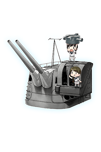 12.7cm Twin Gun Mount Model A Kai 3 (Wartime Modification) + Anti-Aircraft Fire Director 295 Full