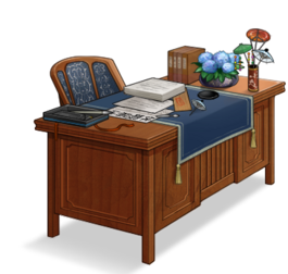 Admiral's desk with hydrangea bow