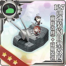 12.7cm Twin Gun Mount Model B Kai 4 (Wartime Modification) + Anti-Aircraft Fire Director 296 Card