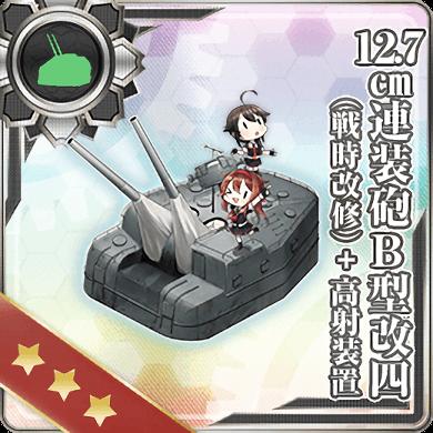 12.7cm Twin Gun Mount Model B Kai 4 (Wartime Modification) + Anti-Aircraft Fire Director 296 Card