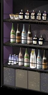 Sake and whiskey shelf