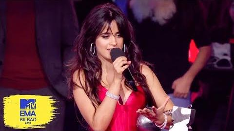 Camila Cabello Accepts Best Artist Award MTV EMAs 2018