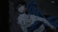 Gareki grabs Nai and jumps on the train