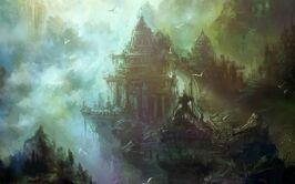 Castles mist fantasy art birds 1280x800 61449