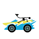 Yellow surf kart