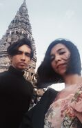 Founder of Kartenz Animation Studios, Akbar de Wighar and his wife Fashion Designer, Chika Riznia in Prambanan Temple 2018