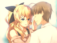 Lilly feeling Hisao's face last