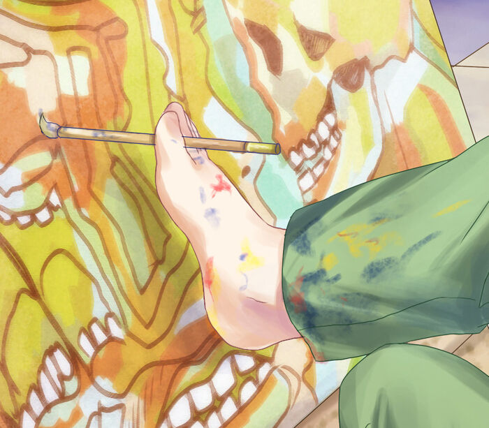 Rin painting foot