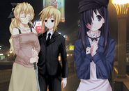 Akira, Lilly, and Hanako in the city