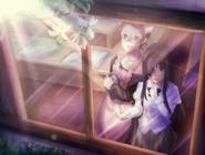 Hanako and Yuuko watching fireworks