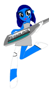 Emily playing a keytar