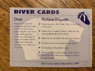 1 DIVER CARD 1B BACK NICK & MARY ALANIZ
