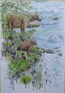 128 Grazer and spring cubs 2016 painting by CarolineB from a Truman Everts photo with permission