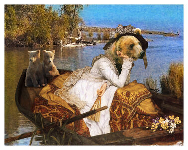 Reimagining Tissot with Brown Bear Lady in Boat with Cubs 2 Small