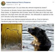 410 PIC 2015.09.04 KNP&P FB POST re 410 INSPRIATION FOR 2015 BROOKS CAMP BEAR ETIQUETTE PIN w KNP&P FB POST