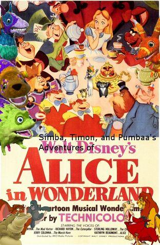 File:Simba, Timon, and Pumbaa's Adventures of Alice in Wonderland poster.jpg