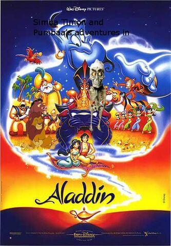File:Simba Timon and Pumbaa's adventures in Aladdin poster.jpg