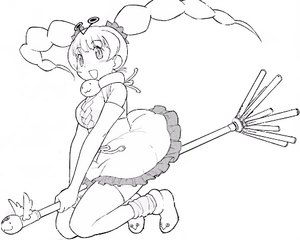 Viper Momi riding a broom