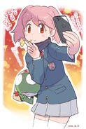 Natsumi taking a selfie with Keroro