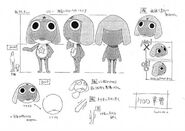 Keroro reference sheet in black and white