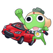 Giroro riding a car & keroro