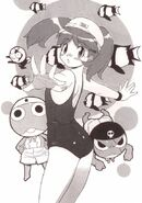 Natsumi in her swimsuit with Giroro and Keroro