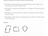Classifying shapes by line and angle types