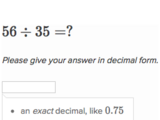 Dividing whole numbers to get a decimal