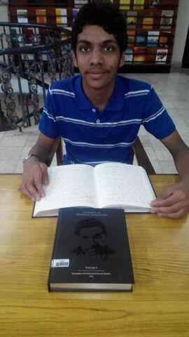 File:Shivam with Ramanujan's original notebooks .jpg