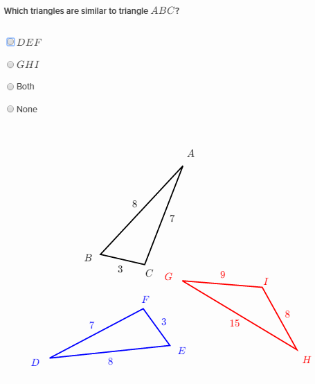 Determine whether triangles are similar using the SSS