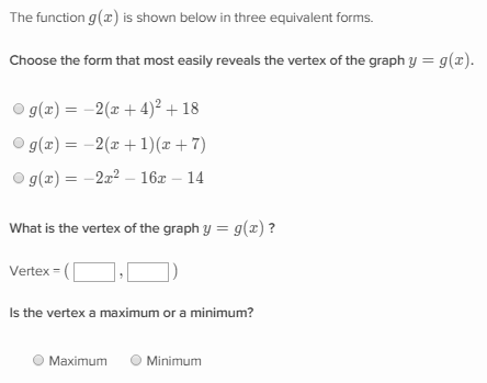 Identify And Use The Different Forms Of Quadratic Functions Khan