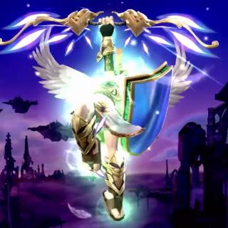 Pit usando los Tres Tesoros Sagrados en Super Smash Bros. para Wii U