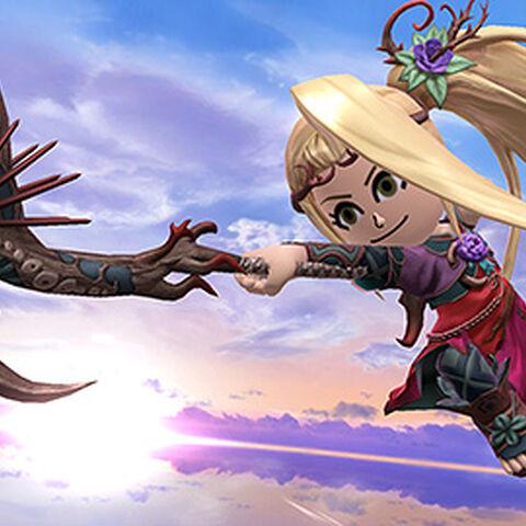 Un Mii usando el traje de Viridi en Super Smash Bros. para Wii U
